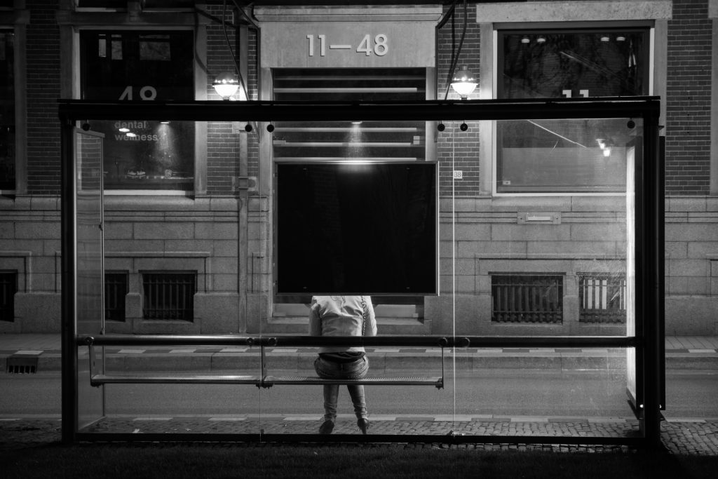 black-and-white-bus-stop